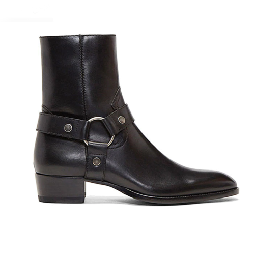 ring & strap western style chelsea boot in black leather