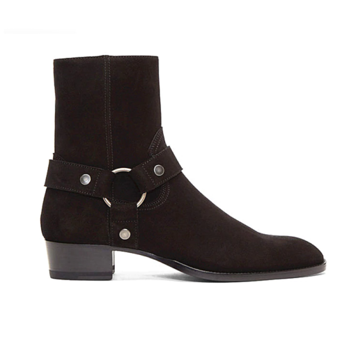 ring & strap western style chelsea boot in black suede