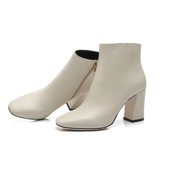white sexy thick heel fashion ankle boot showing both sides