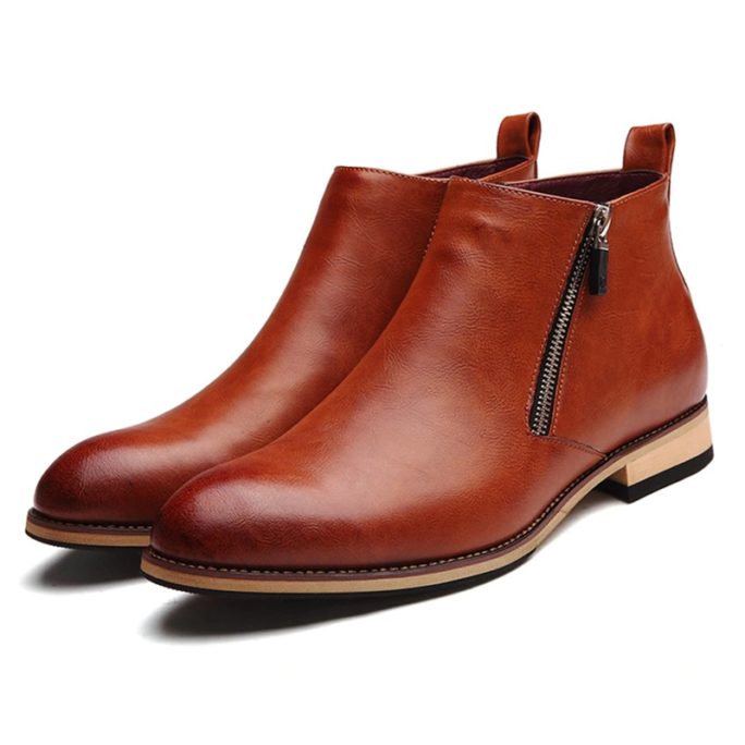 stylish chelsea fashion boots zipper brown