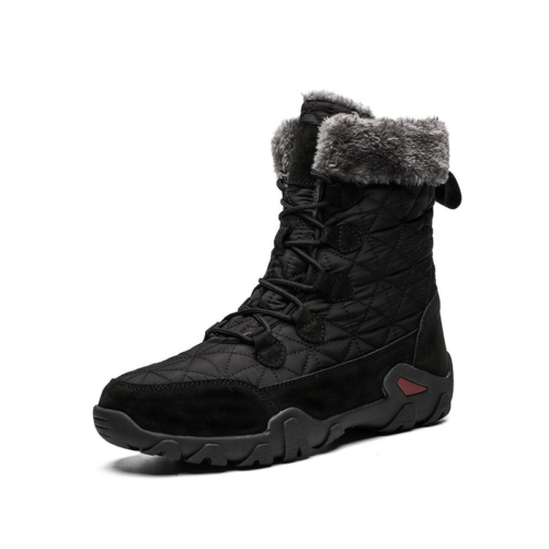 winter fur fashion snow boots in black