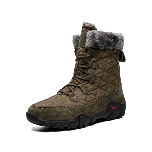 winter fur fashion snow boots in od green