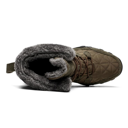 winter fur fashion snow boots in od green from the birds eye view