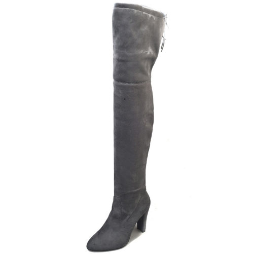 Flock Leather Over The Knee Sexy High Heel Boot in grey