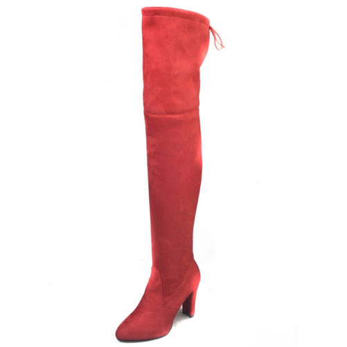 Flock Leather Over The Knee Sexy High Heel Boot in red