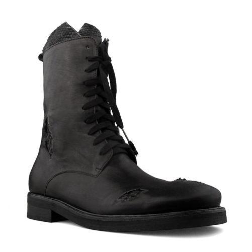 Gothic Leather & Snakeskin Fashion Biker Boots
