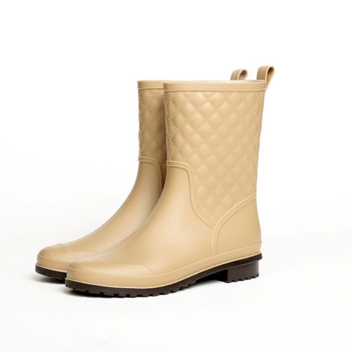 Rubber Waterproof Fashion Flat Rain Boots in beige