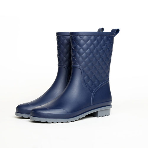 Rubber Waterproof Fashion Flat Rain Boots in blue